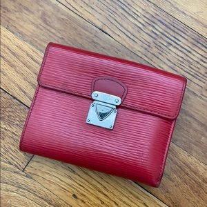 LV red epi wallet, lots of card holders